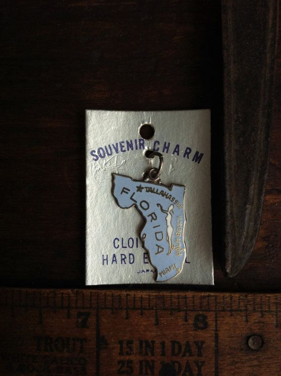 Vintage Florida Souvenir Charm Cloisonne Enamel State Pendant On Original Card Japan NOS New Old Stock