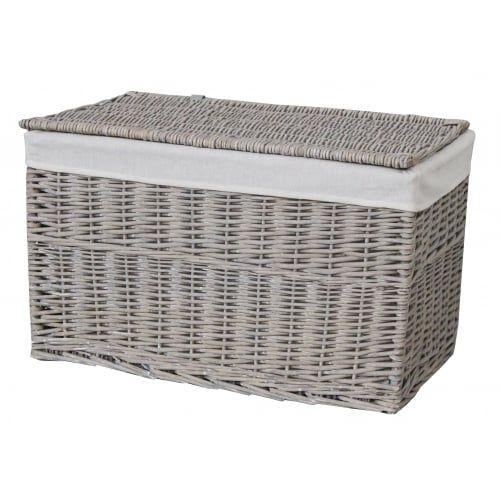 High Quality Grey Wash Wicker Storage Trunk