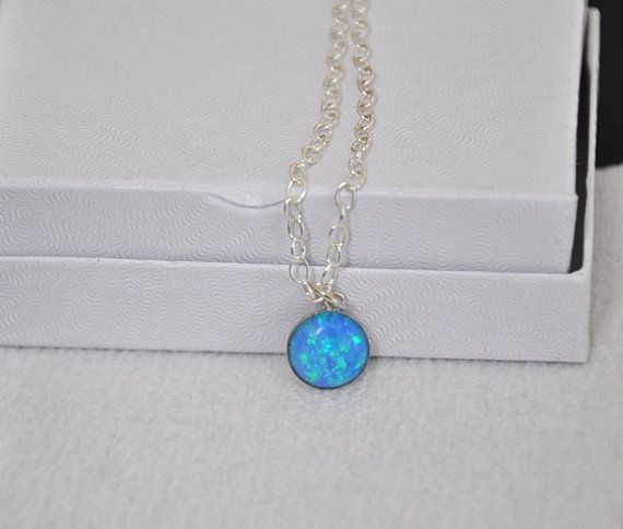 Blue opal necklace sterling silver necklace adjustable chain blue opal necklace sterling silver necklace adjustable chain pendant necklace opal jewelry mozeypictures Gallery