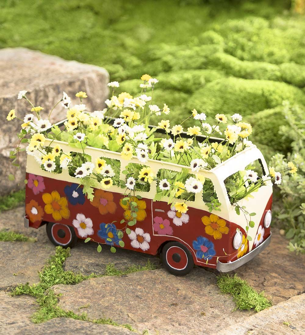 Metal Flower Power Bus Planter | Decorative Plant Containers | Patio ...