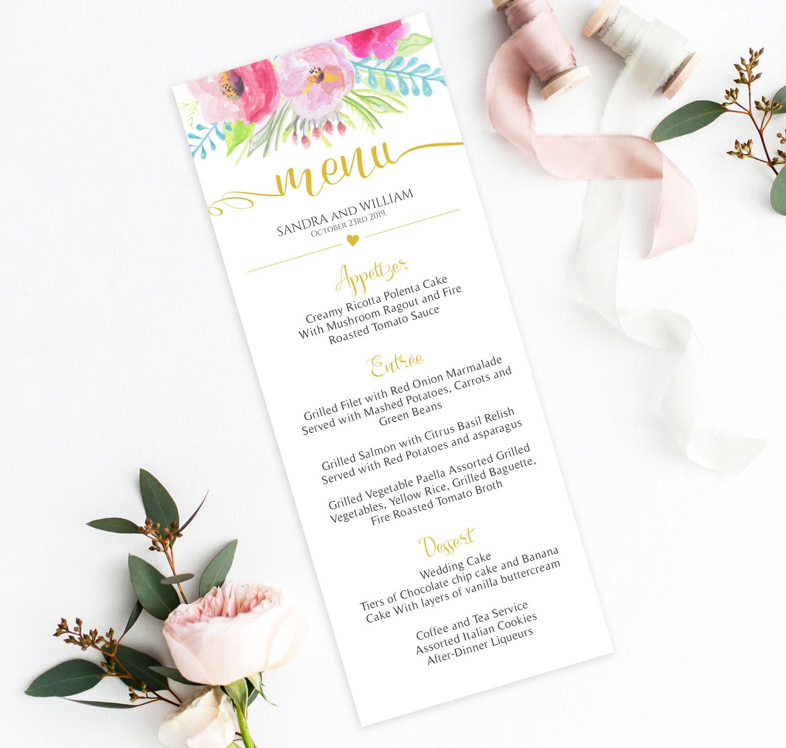 Wedding Menu Template Floral Watercolor With Gold