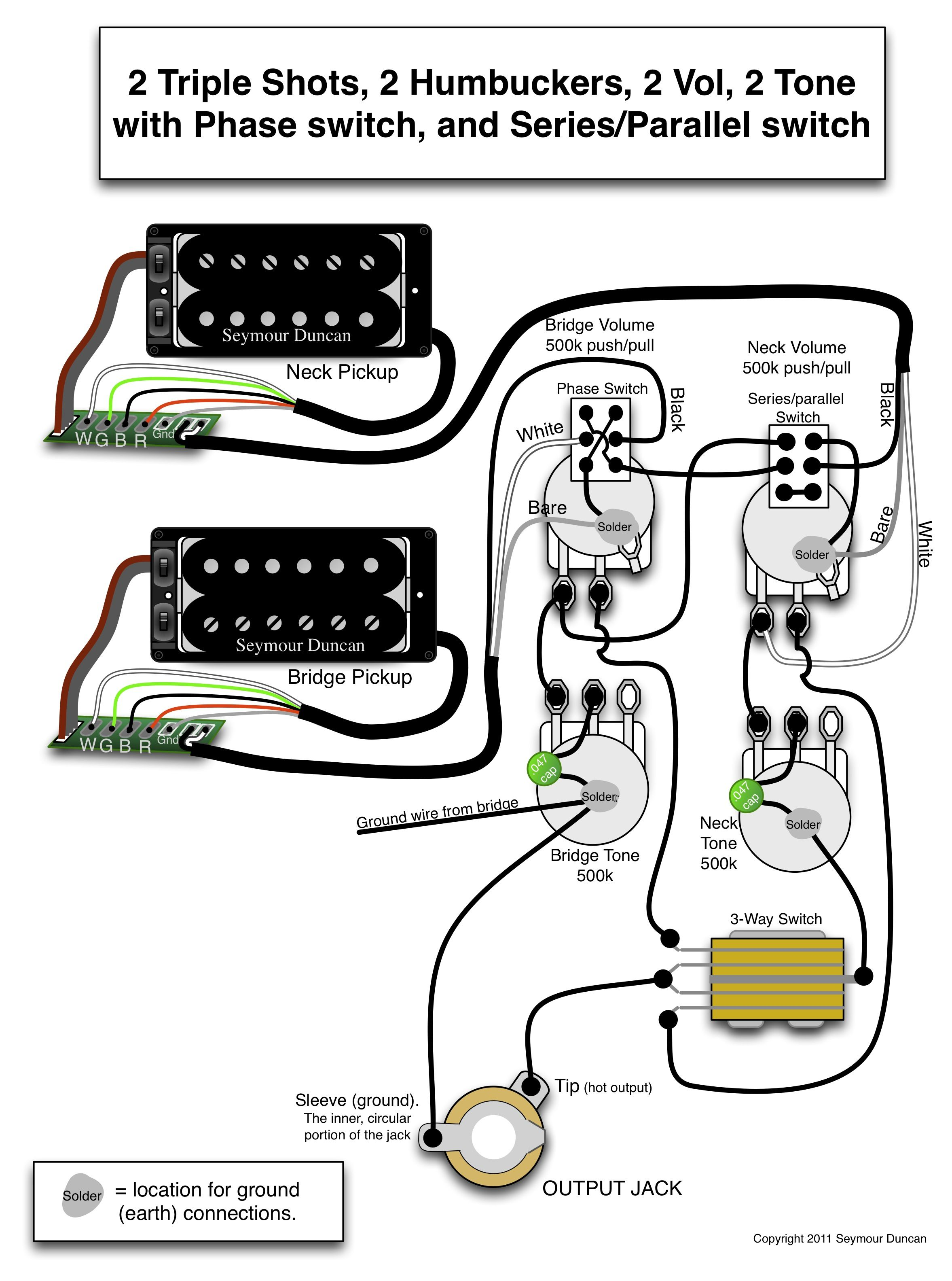 Seymour Duncan wiring diagram - 2 Triple Shots, 2 Humbuckers, 2 Vol, 2 Tone  (one with Phase switch and the other with Series/Parallel switch)