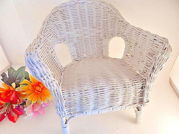 """Doll Chair White Wicker Furniture 10"""" Display Piece for Dolls or Bears Vintage Craft Supply Home Decor"""