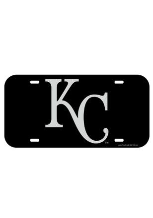 Kansas City Royals Black Silver Cap Logo Inlaid Car Accessory License Plate 6455327a7215