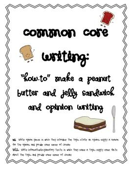 Common Core Writing: How to Make a Peanut Butter and Jelly