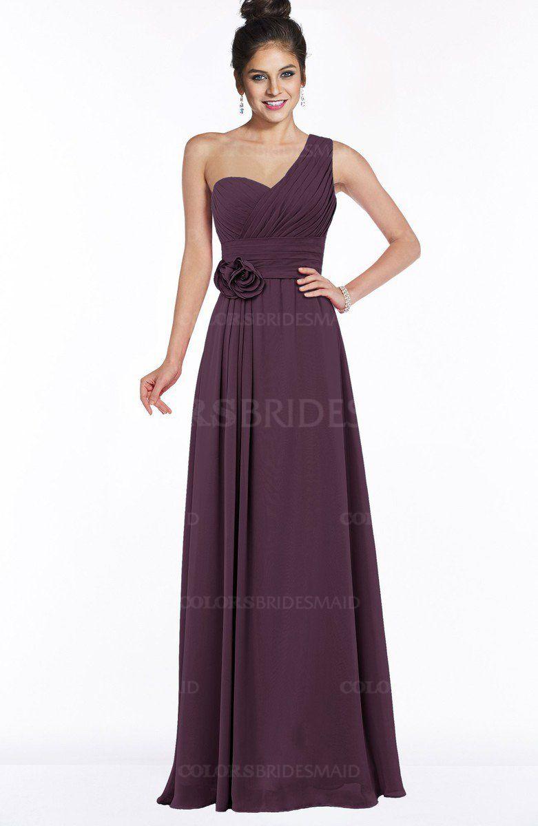 Green backless prom dress  Plum Modern Sleeveless Zip up Chiffon Floor Length Flower Bridesmaid