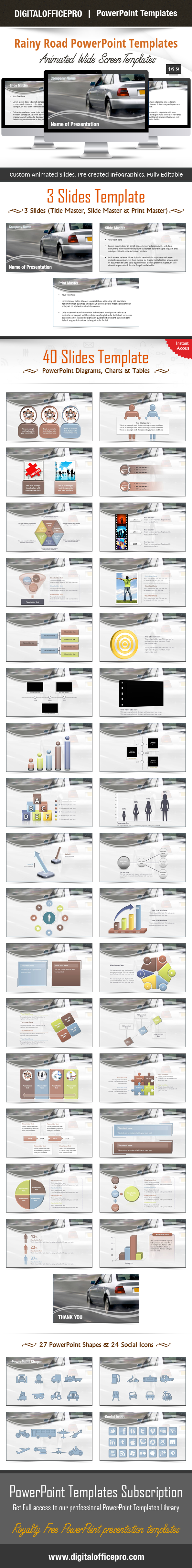 Impress and Engage your audience with Rainy Road PowerPoint Template and Rainy Road PowerPoint Backgrounds from DigitalOfficePro. Each template comes with a set of PowerPoint Diagrams, Charts & Shapes and are available for instant download.