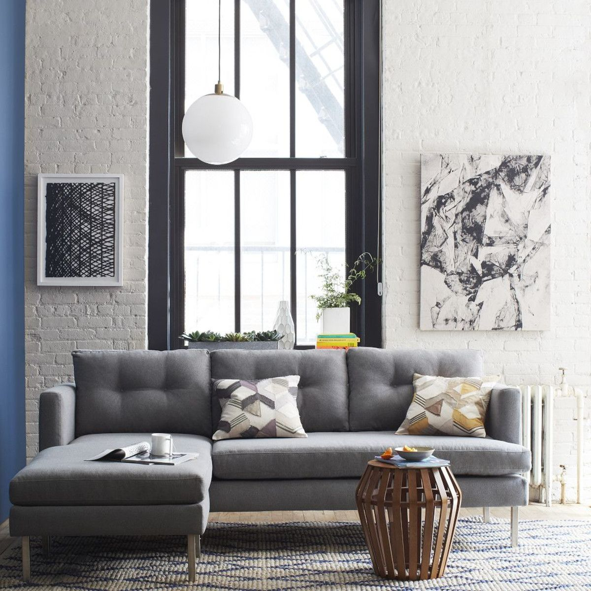 jackson 2 piece chaise sectional heather grey aud1809 west elm rh pinterest com west elm jackson sofa Bergen West Elm