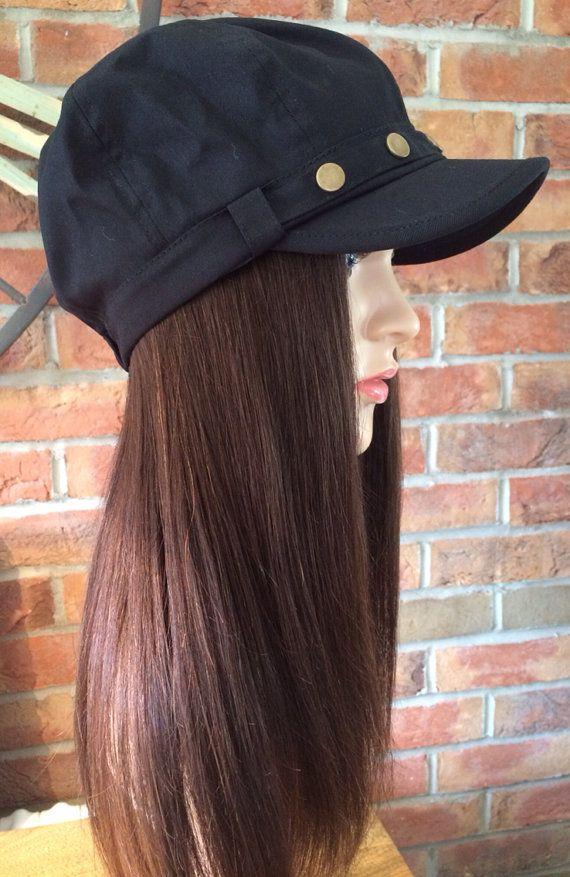 Stylish Chemo hats with human hair bespoke wig on Etsy b1e7f4b8db3