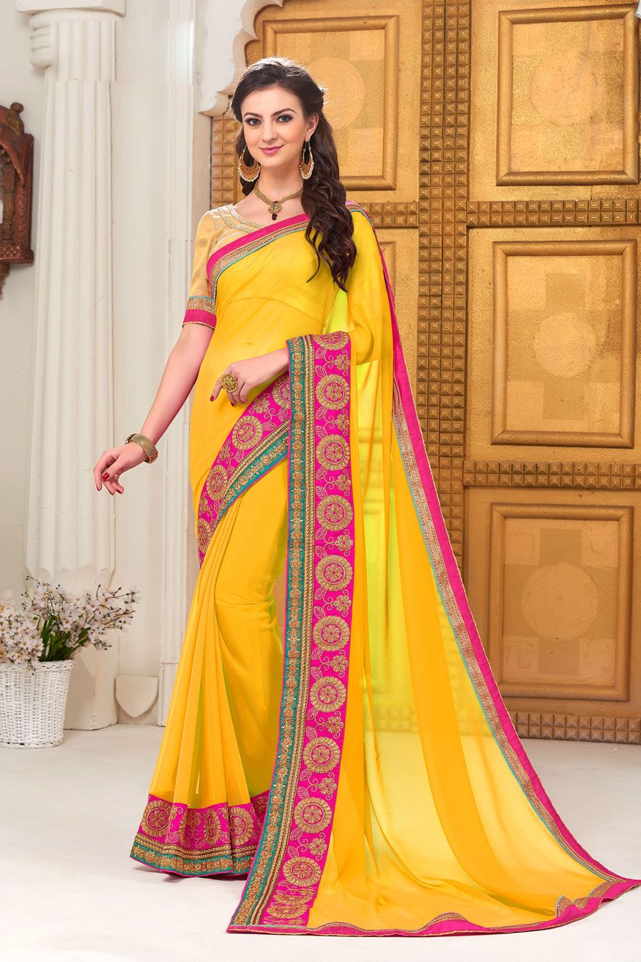 06b458fcc6c Shop Now Yellow Pure Georgette Embroidery Lace Work Designer Saree. More  Collection of Jaipuri Designer Wedding Partywear Saree On Offloo