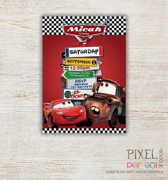 Cars Birthday Invitation Disneys Cars Lightning McQueen Sally