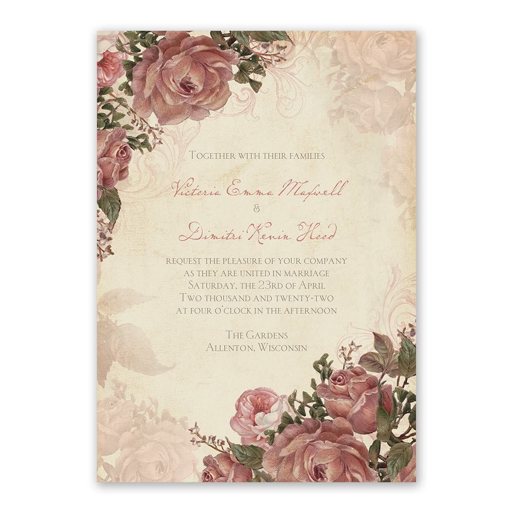 Vintage Roses - Invitation with Free Response Postcard   Budget ...