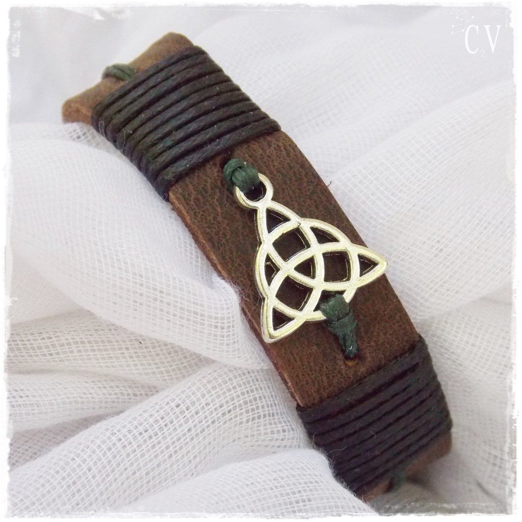 Triquetra Leather Bracelet Jewelry Diy Pinterest Mens Leather
