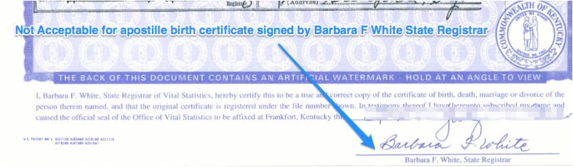 not acceptable for apostille birth certificate signed by barbara f ...