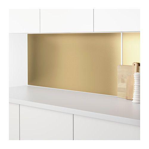 Brass plate!! LYSEKIL Väggplatta, dubbelsidig mässingsfärgad - wandpaneel küche glas