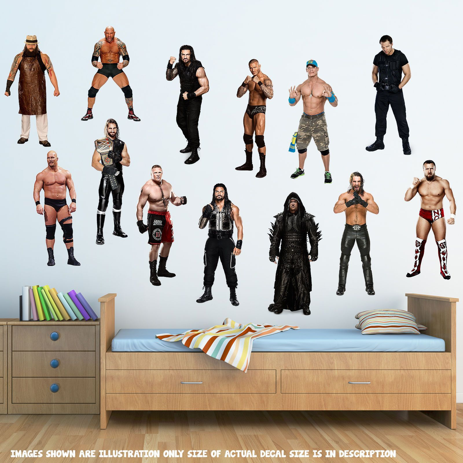 #Wrestlers Wwe Wrestling #vinyl Decal Boys Kids Bedroom Wall #window  Sticker Gift,