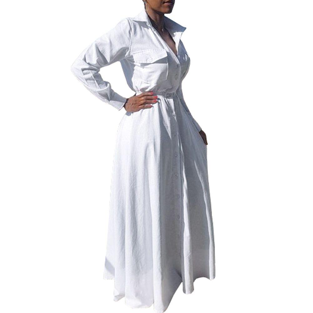 Women Casual Long Sleeve V Neck High Waist Big Swing Maxi Shirt