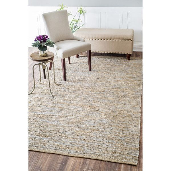 Nuloom Casual Handmade Jute Solid Silver Rug 7 6 X 9 Ping The Best Deals On 7x9 10x14 Rugs
