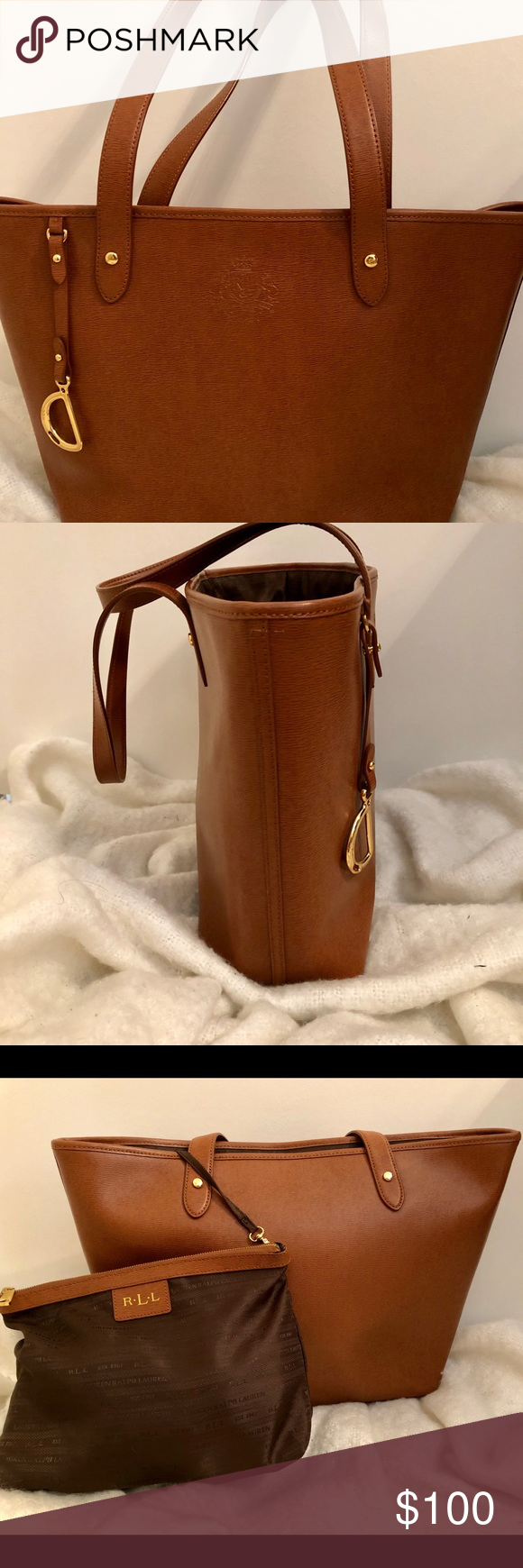 Ralph Lauren Leather tote Camel colored leather tote by Ralph Lauren. Extra  nylon detachable pouch a5aa952aa396e