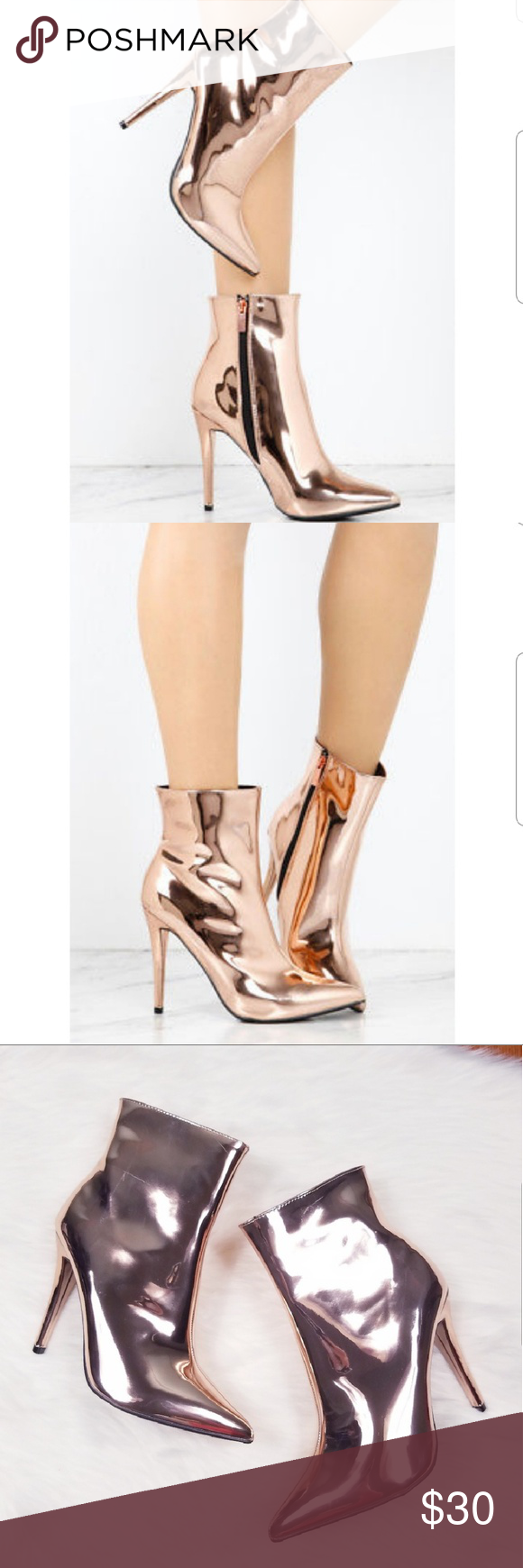 5cf0a2bf201 Rose gold metallic booties NWOB Rose gold metallic party ankle boots  Pointed toe Skinny heel 4
