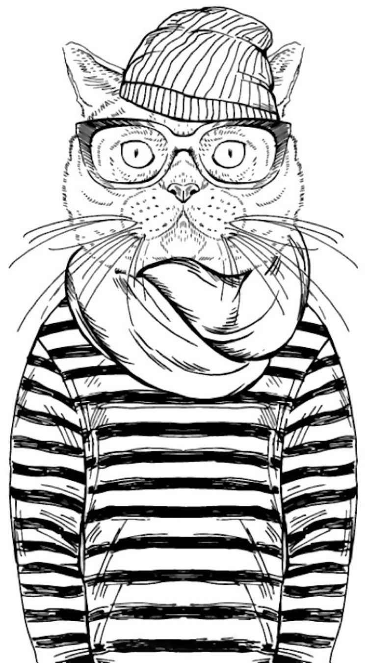 cool cat coloring page from adult coloring pages coloring pages coloring. Black Bedroom Furniture Sets. Home Design Ideas