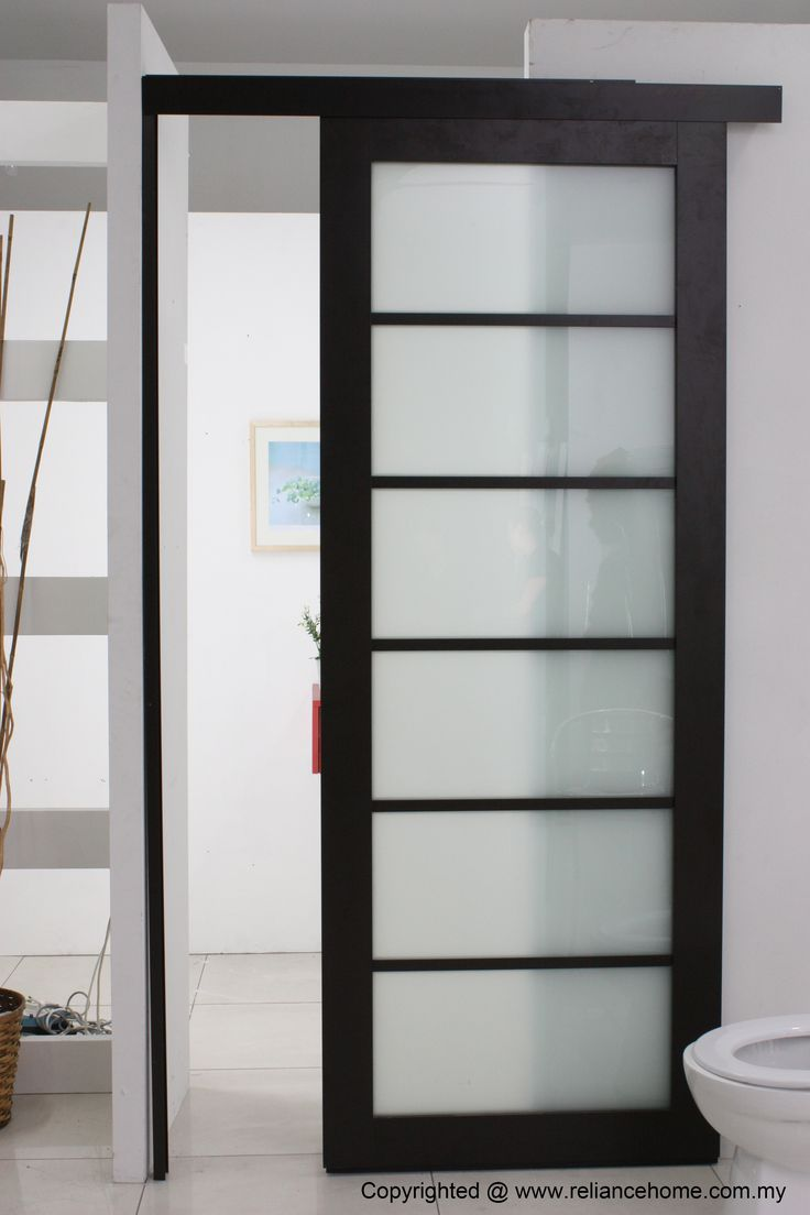 Install Bathroom Sliding Door With Black Wood Frame Door Plus Use