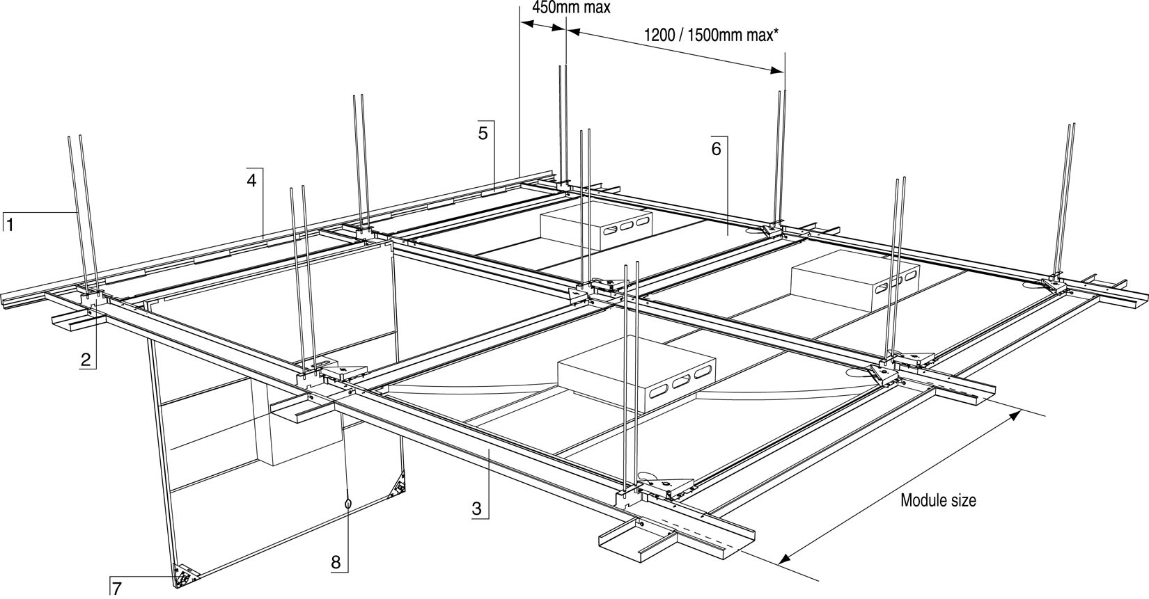 Suspended Ceiling Systems In Steel Structure