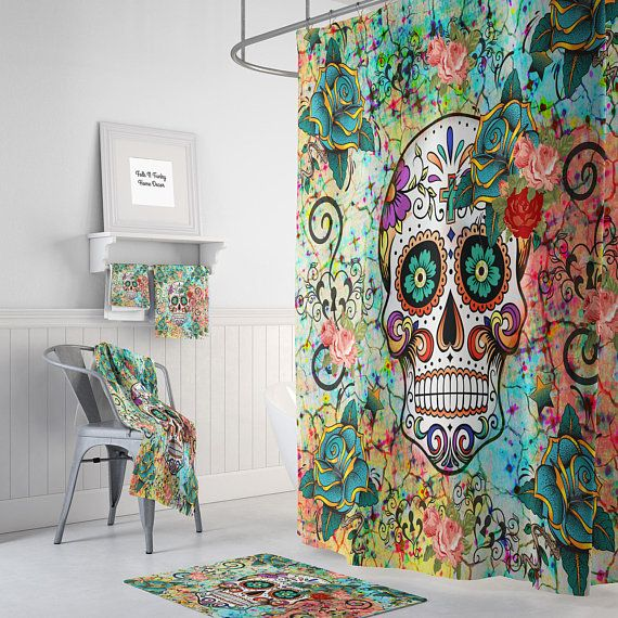 Abstract Skull Shower Curtain Sugar Skull Bathroom Decor Optional Bath Mat Bath Towels Hand Towels Sugar Skull Shower Curtain Skull Shower Curtain Cool Curtains