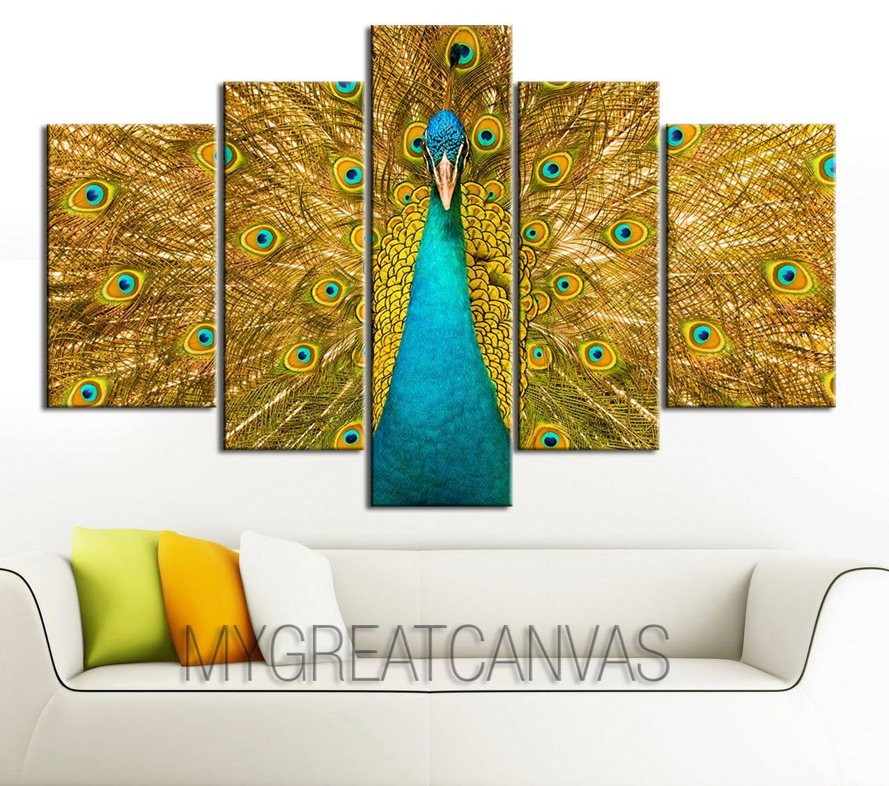 Extra Large Wall Art CANVAS - Colorful Peacock Print on Canvas + ...