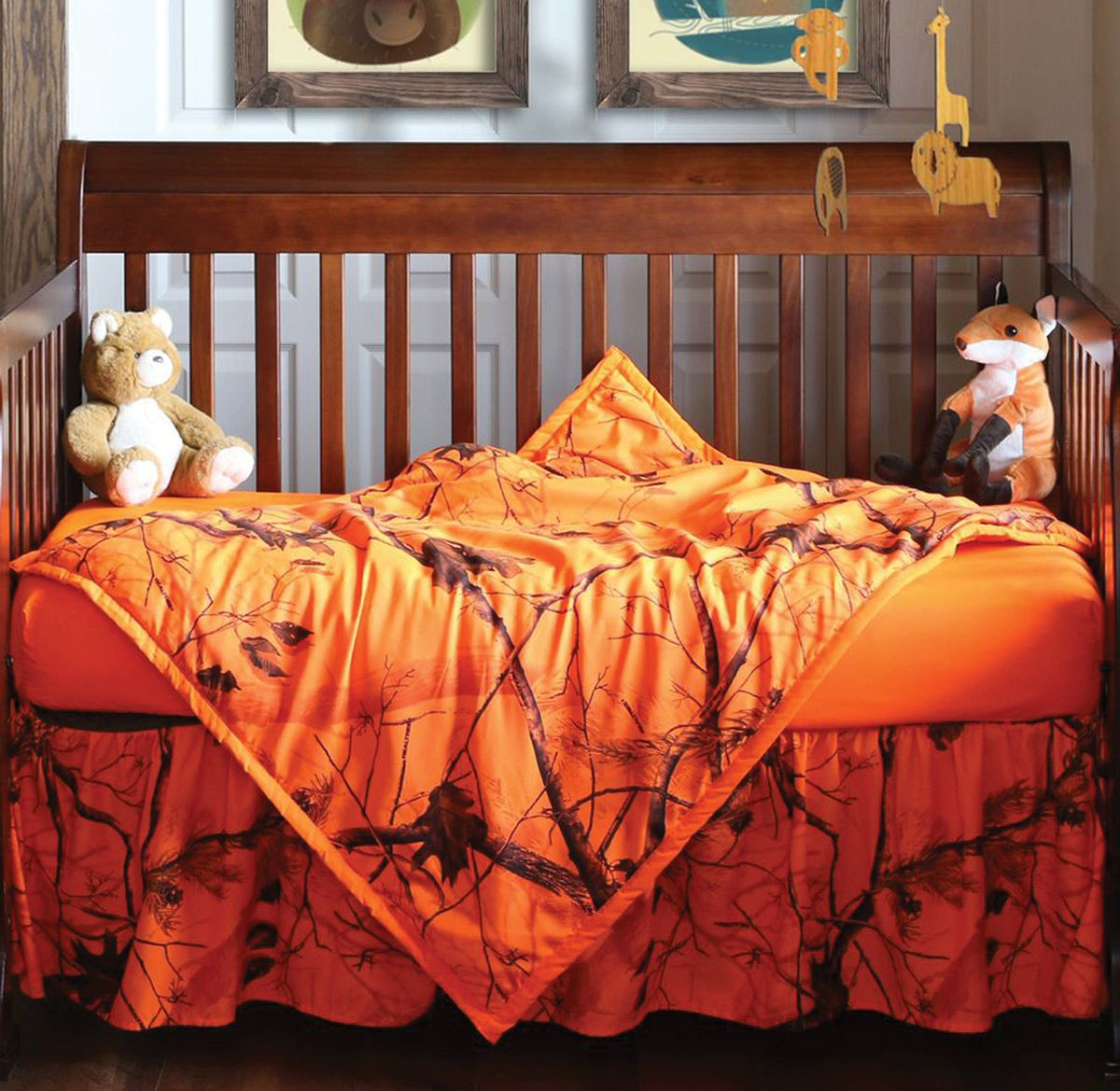 Orange Blaze Realtree Ap Camo Crib Set 3 Pcs