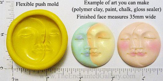 Flexible push mold sun moon face art doll beaded jewelry making diy