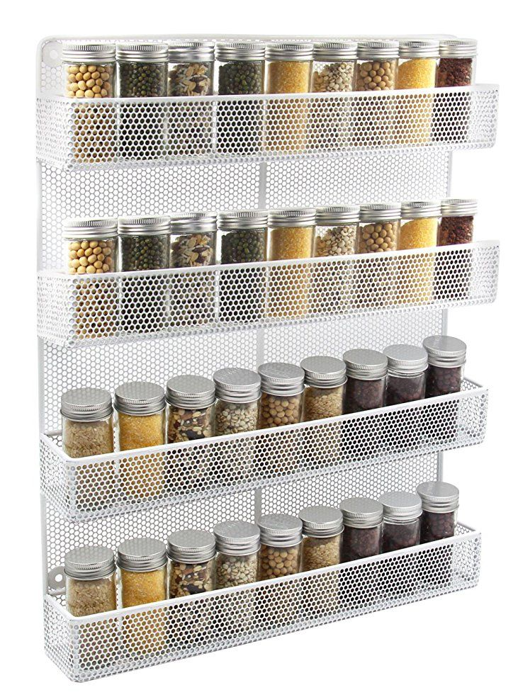 ESYLIFE 4 Tier Wall Mount Spice Rack Organizer Large Kitchen Spice Storage  Shelf, White