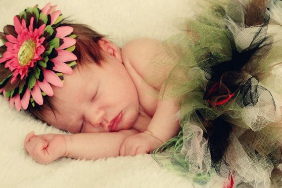 Camo and pink tutu Flower clip and hairbow by MommywoodBowtique, $25.00