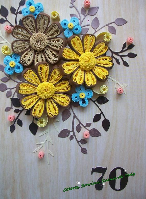 70th Birthday Quilling Card, 70th Birthday Gift For Mum
