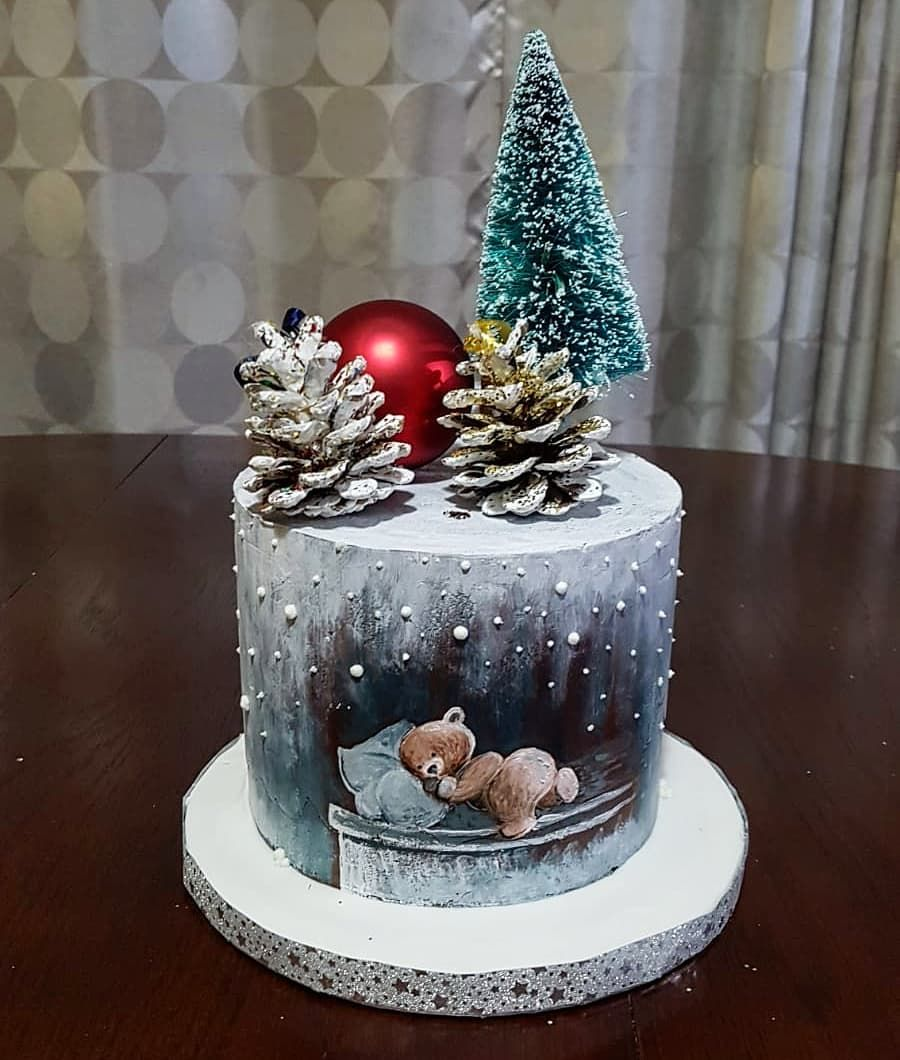 Admirable Winter Theme Birthday Cake With Hand Painting Tried Some New Funny Birthday Cards Online Elaedamsfinfo