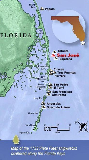Florida Shipwrecks Map.1733 Spanish Treasure Fleet Map When In Fl Shipwreck Spanish