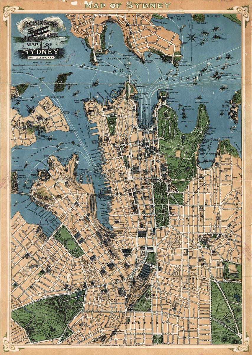 Robinson S Map Of Sydney Australia 1922 Collectors Weekly Sydney Map Panoramic Map Australia Map