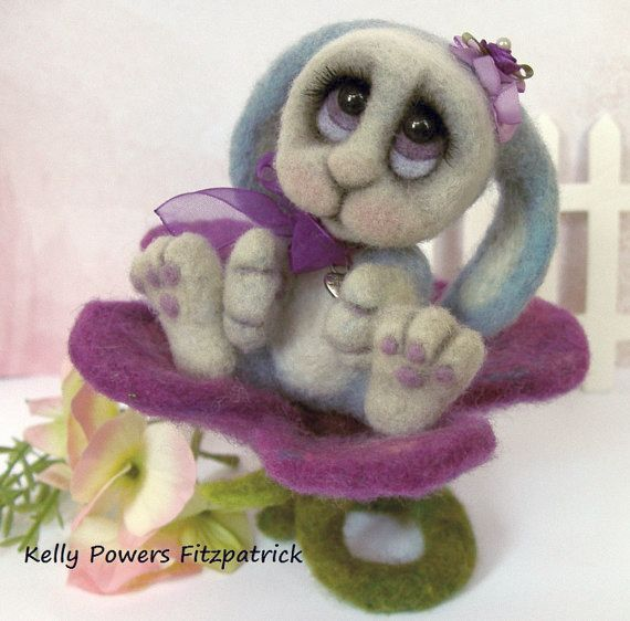 Needle Felted Lop Eared Bunny Rabbit  Big Eyes  by PixieWhiskers