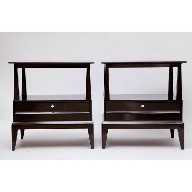 Image of Pair of Ebonized Walnut Nightstands by Heywood-Wakefield