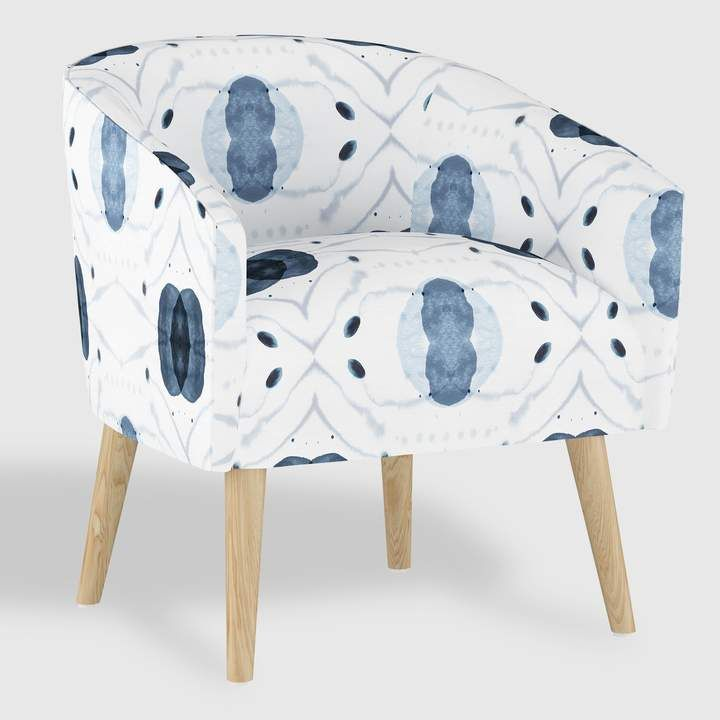 White and Blue Atomic Ilana Upholstered Chair #legs#wood#natural