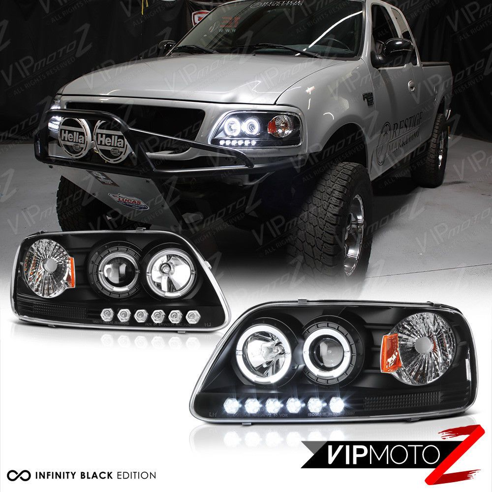Black Dual Led Halo Ring Projector Lamp Headlight For 97 03 Ford F150 Expedition Ford F150 Ford F150 Accessories F150