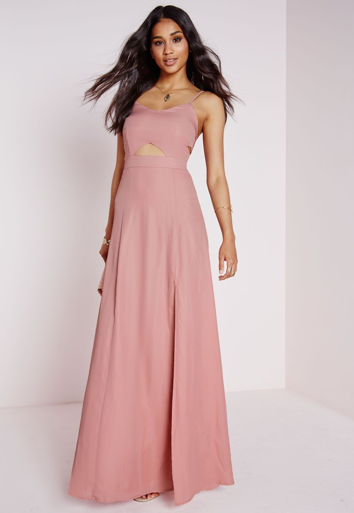 Missguided - Crepe Bralet Maxi Dress Dusky Pink | prom | Pinterest ...