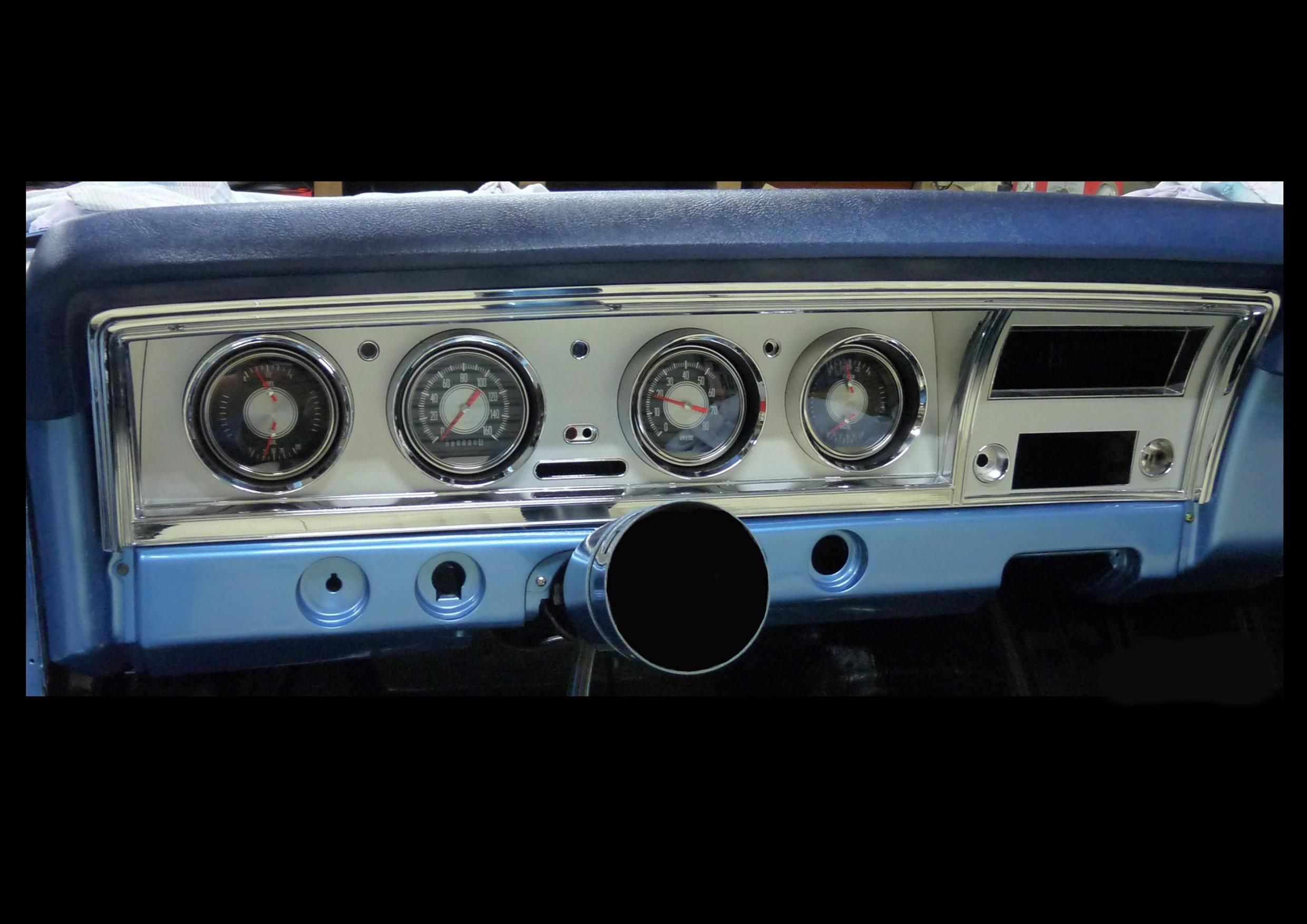 1968 Impala Custom Retro Instrument Cluster Dashboard Bezel, fitted to dash With Gauges
