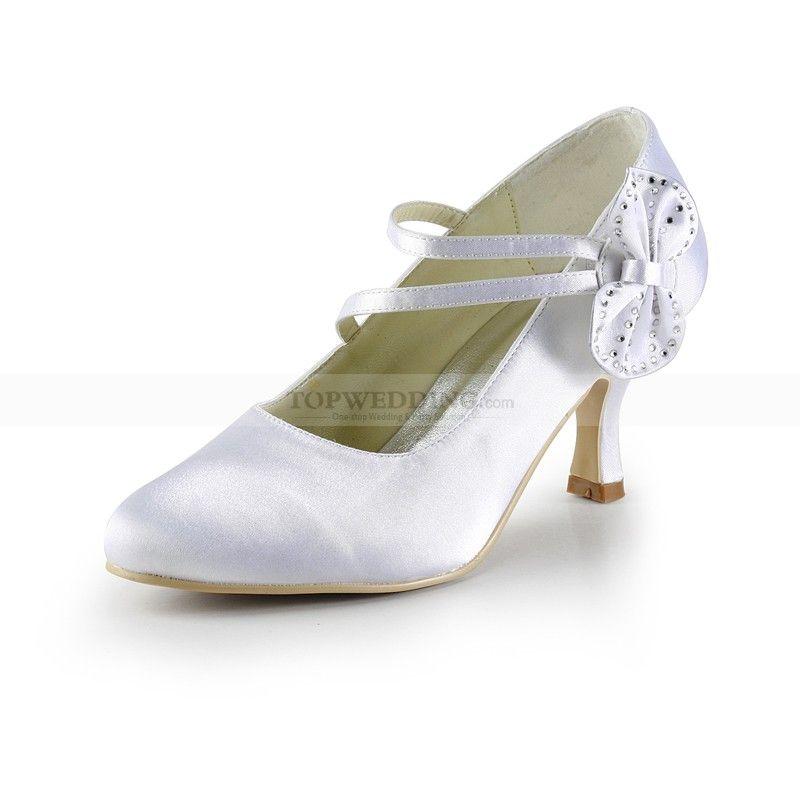 Captivating White Satin Mid Heel Wedding Shoes With Rhinestone Bow
