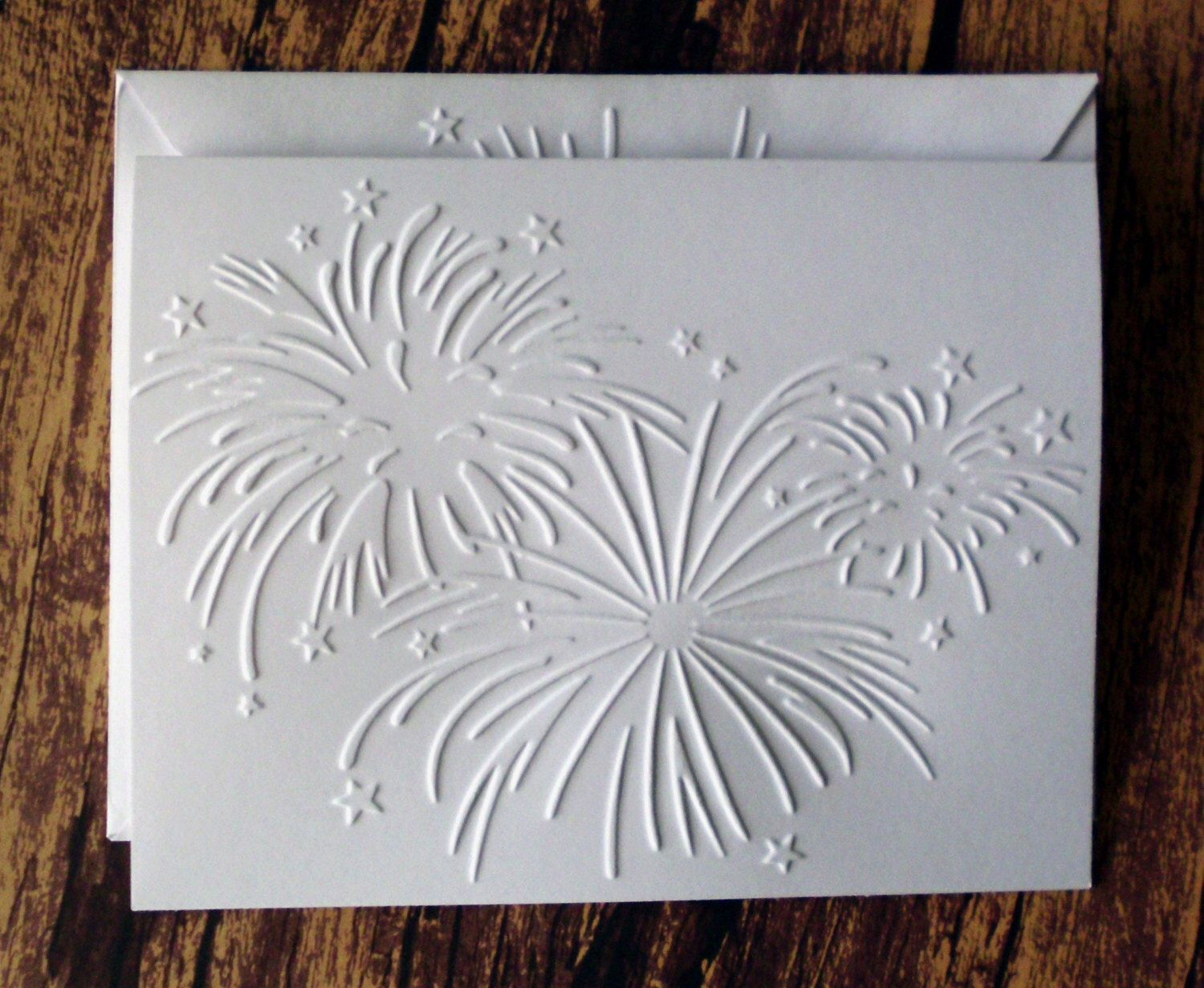 Embossed Fireworks Cards Set Of 5 4th Of July Cards White