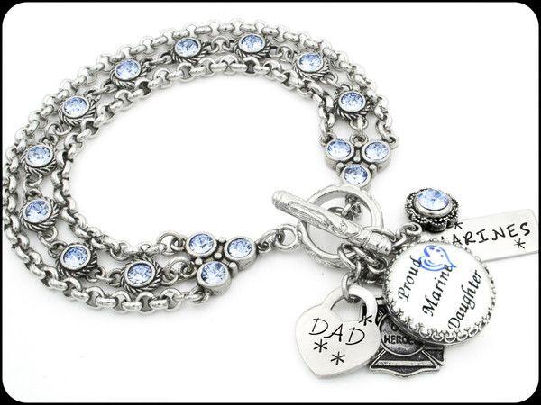 Military Daughter Charm Bracelet