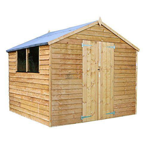 8×8 Overlap Wooden Apex Garden Storage Shed \u2013 Double Doors  Windows