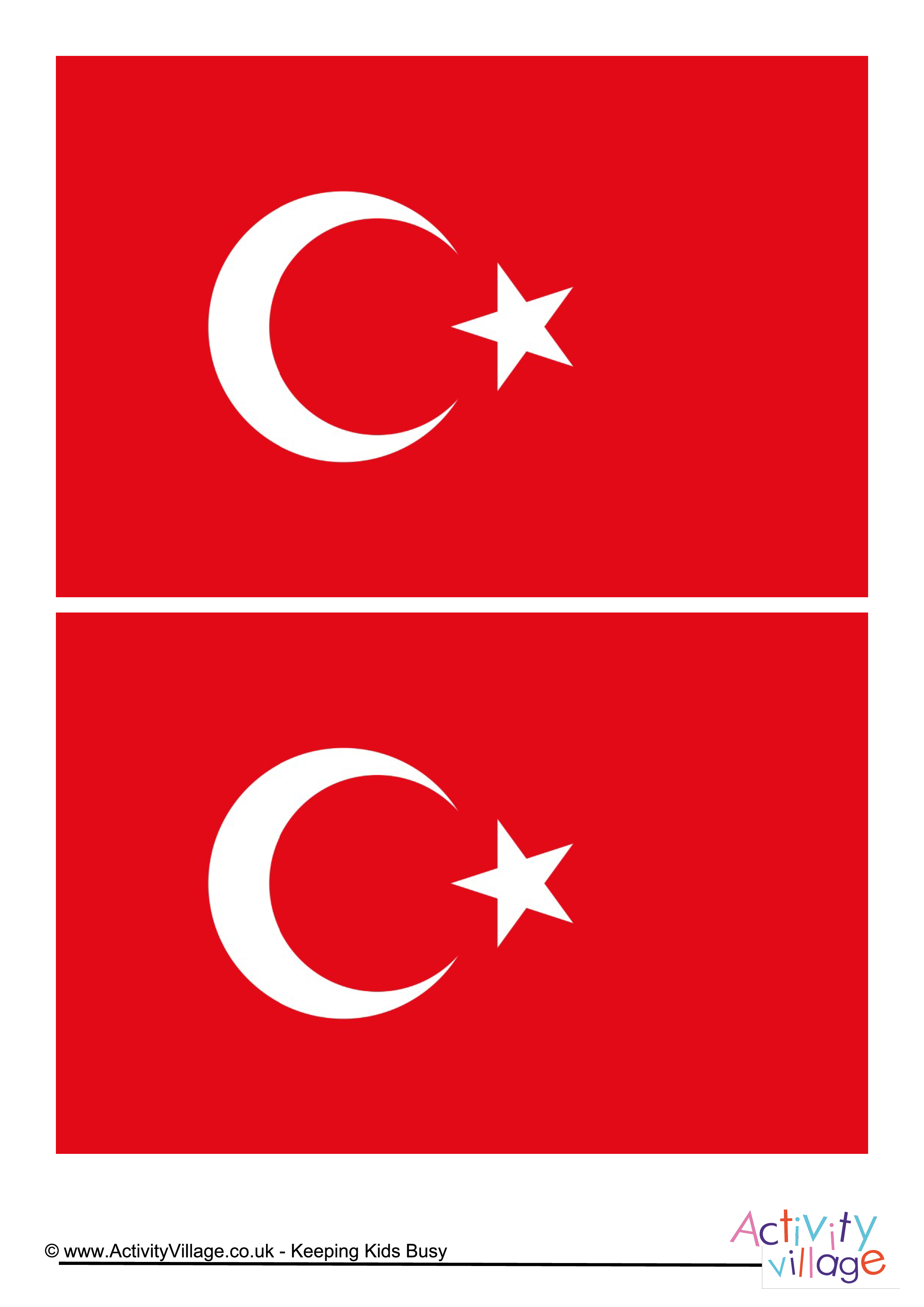Turkey Flag - Download this free printable Turkey template A4 flag ...
