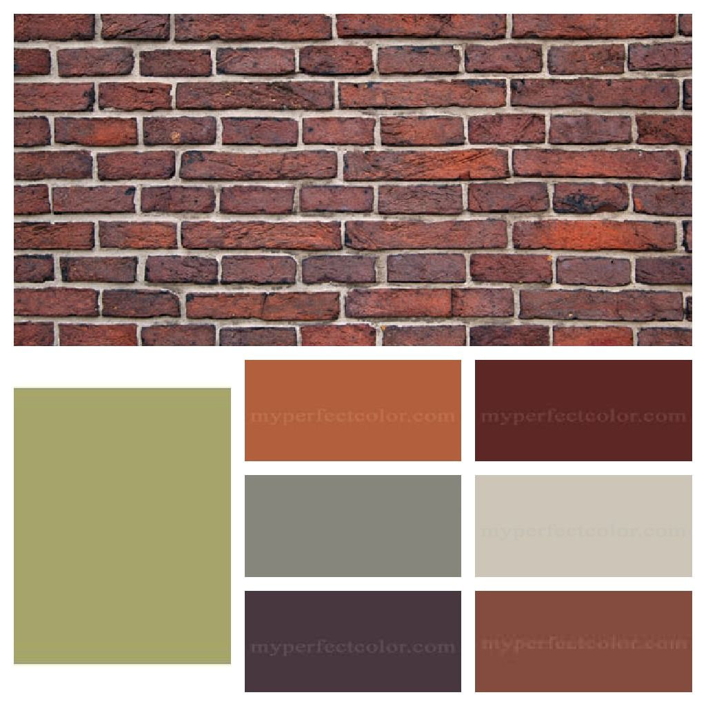 Paint accent colors that complement orange brown brick for Exterior paint colors images