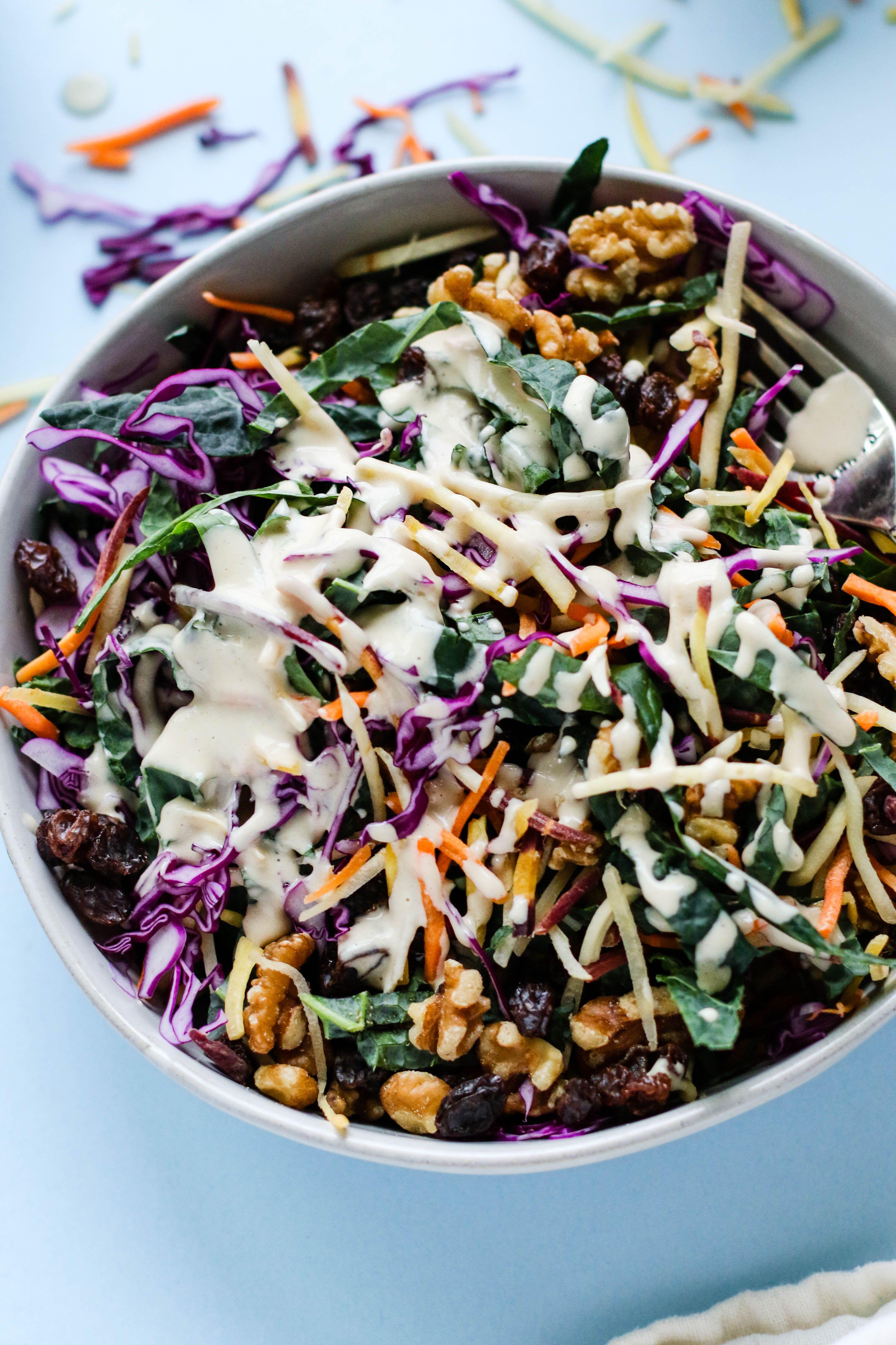 Raw Krazy Kale Salad With Miso Tahini Dressing